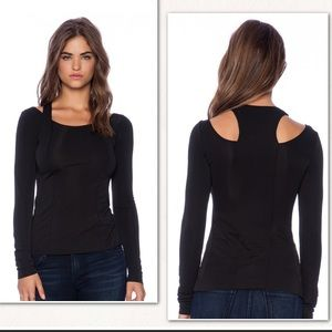 Bailey44 Black Cutout Shoulder Top Anthropologie S